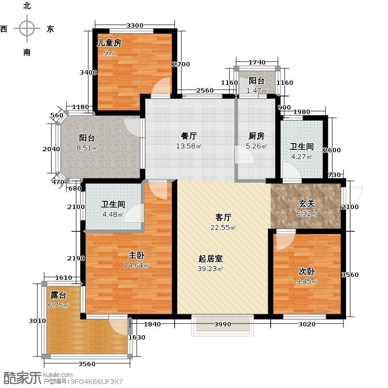 金隅・观澜时代133.00㎡F4`户型3室2厅2卫