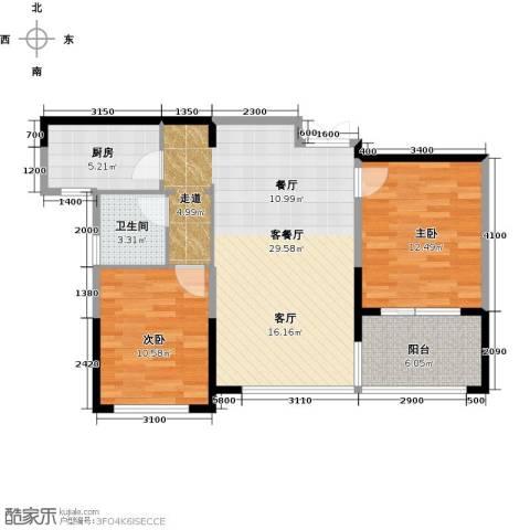 绿城玉兰花园2室2厅1卫0厨89.00㎡户型图