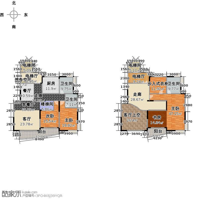 铂晶国际花园315.00㎡D1户型4室3厅2卫
