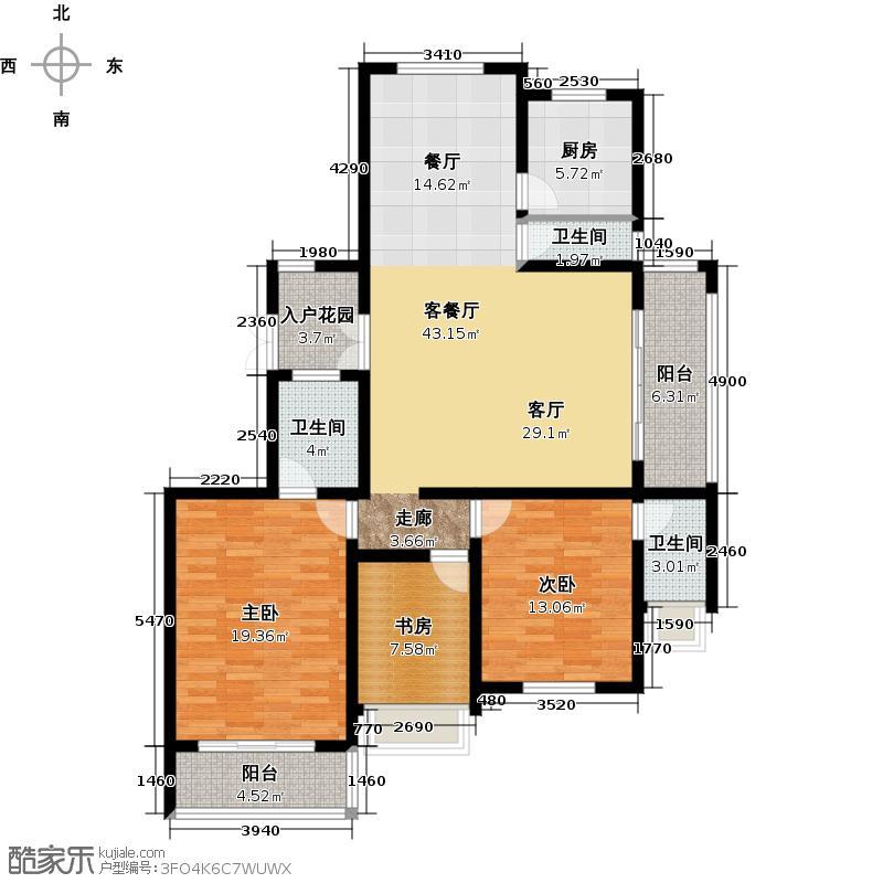 锦尚唐宁郡129.00㎡D3室户型3室2厅2卫