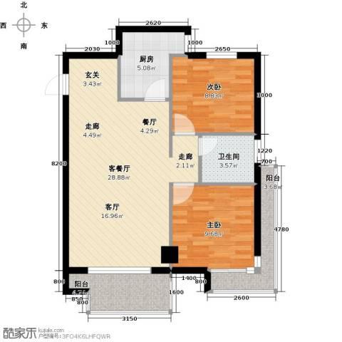 丽都新城二期爱丽香舍2室2厅1卫0厨85.00㎡户型图