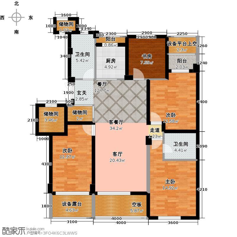 佳苑玉都枫景122.16㎡4号楼中间套K户型4室2厅2卫