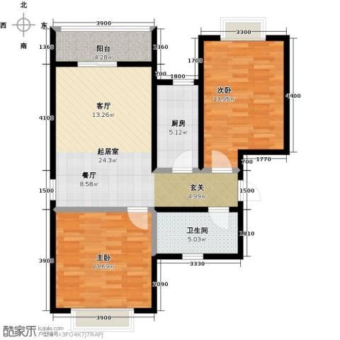 七里香格庄园2室2厅1卫0厨98.00㎡户型图