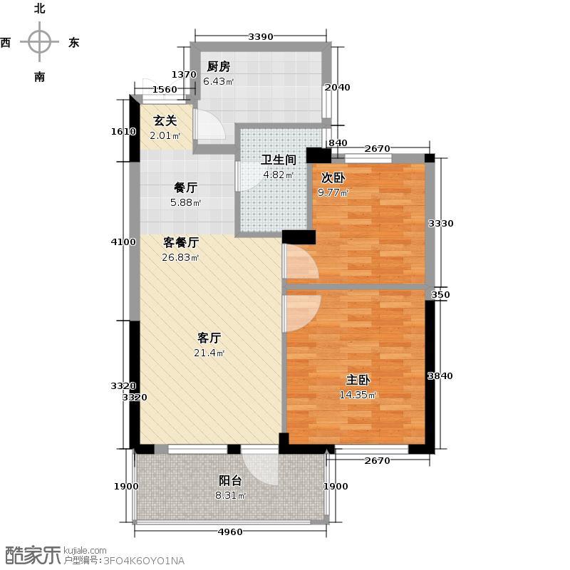 金成・庭院深深78.00㎡E户型2室2厅1卫