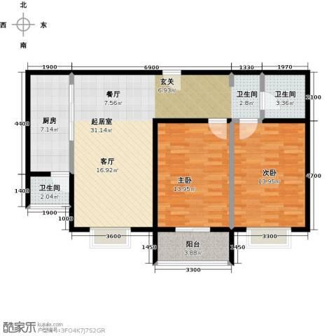 七里香格庄园2室2厅1卫0厨109.00㎡户型图
