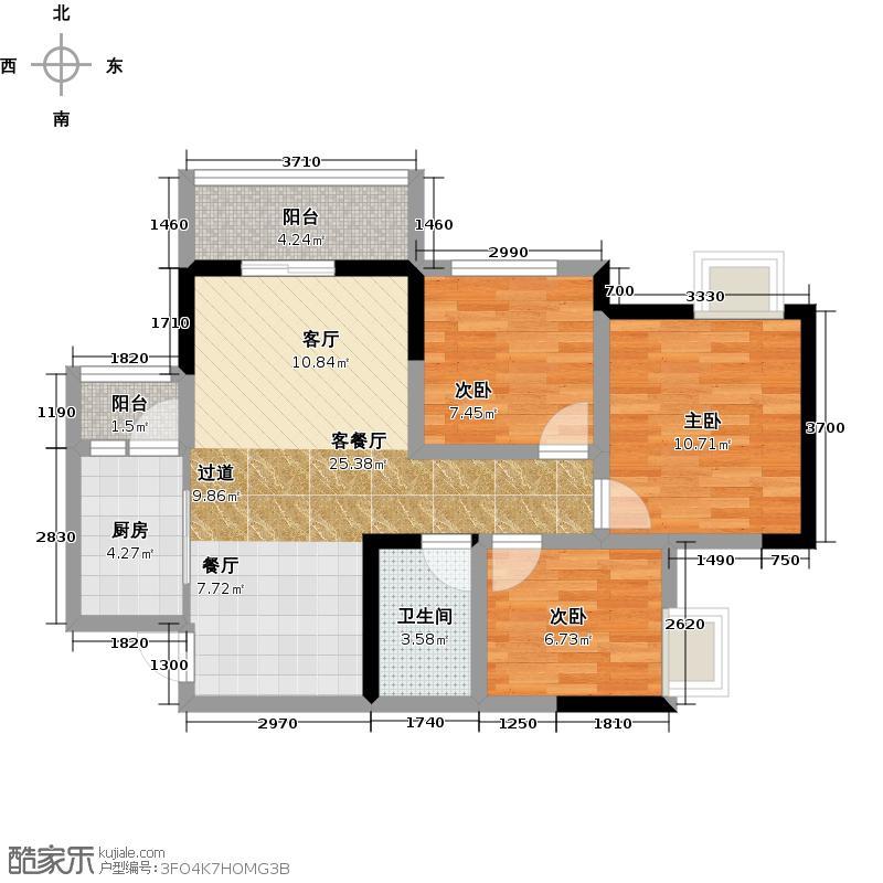 金科中心89.01㎡2#A11号房建筑面积8901赠送面积632户型3室2厅1卫