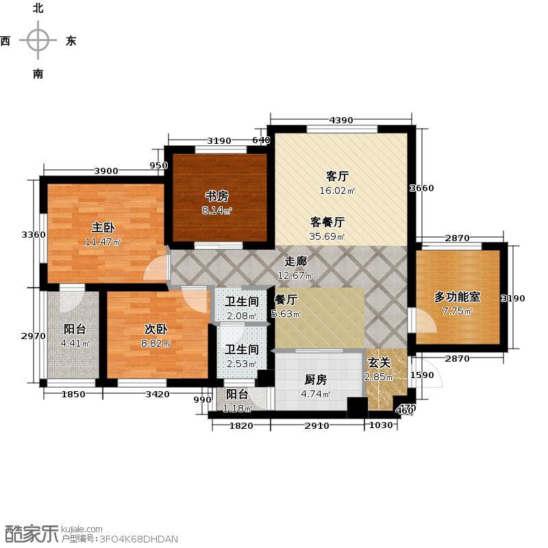 国宾中央区97.76㎡户型10室