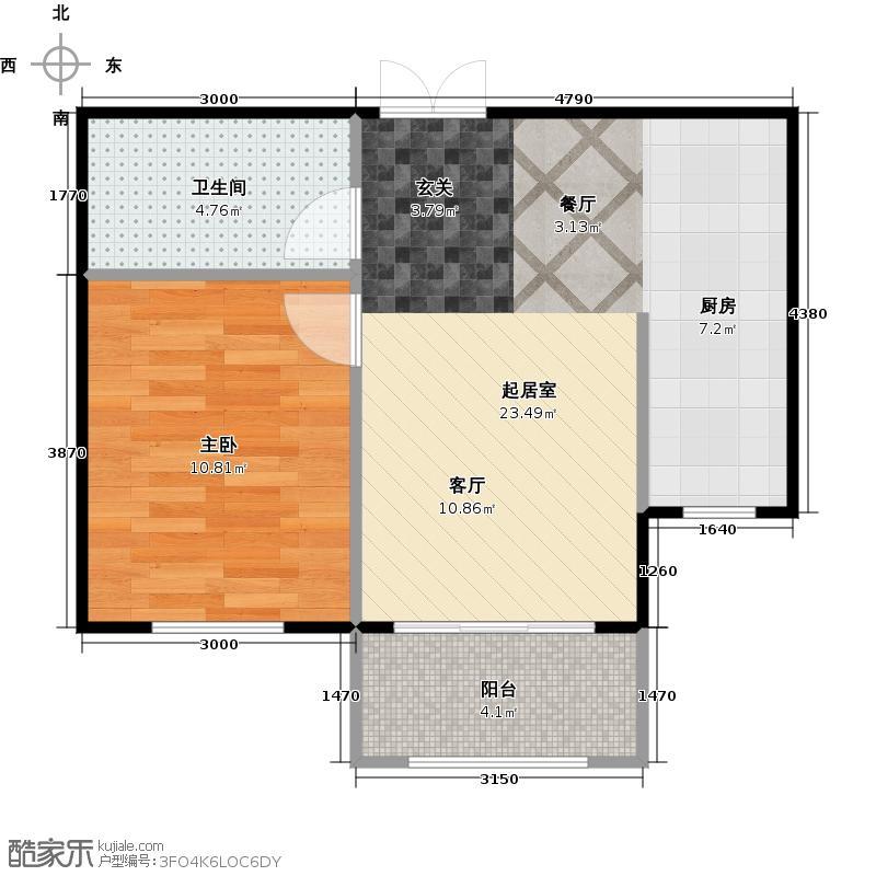 盛高国际望江花园46.55㎡1号楼B1户型1室1厅1卫