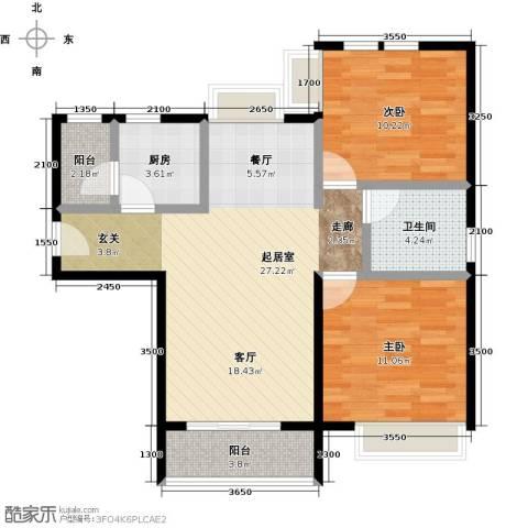 福晟钱隆城2室2厅1卫0厨90.00㎡户型图