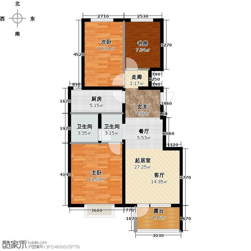 金隅・观澜时代95.00㎡F5户型3室2厅1卫