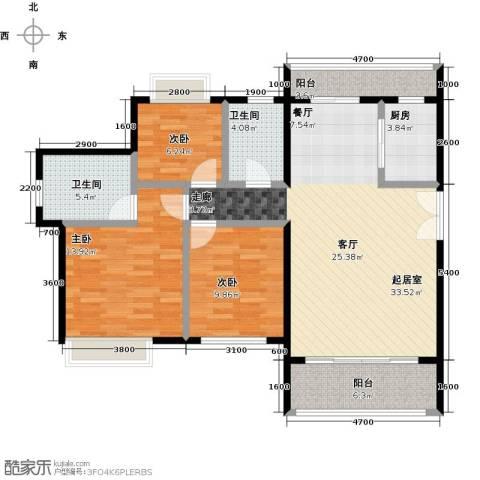 福晟钱隆城3室2厅2卫0厨129.00㎡户型图