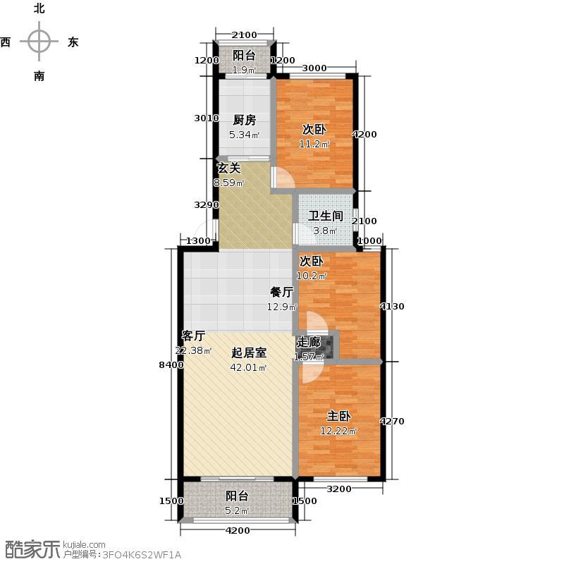 常青藤花园116.76㎡F户型3室2厅1卫