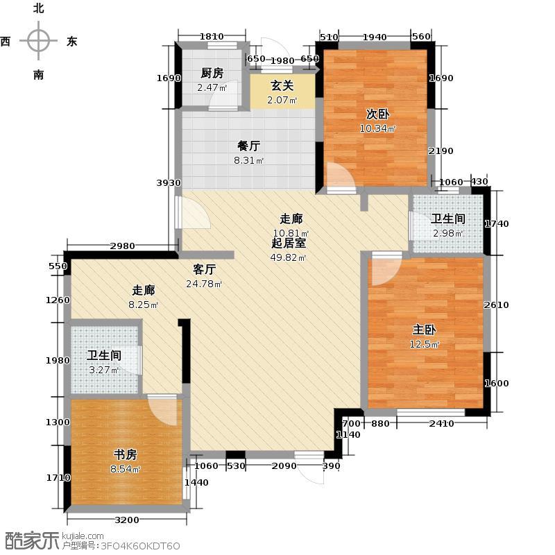 中交上东湾129.00㎡首层C-01户型3室2厅