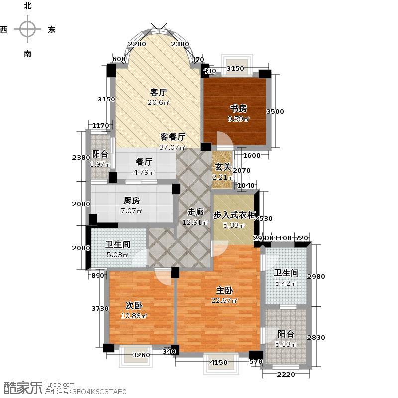 东海闲湖城131.00㎡C户型3室2厅2卫
