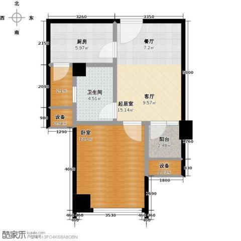 星河国际1室2厅1卫0厨53.00㎡户型图