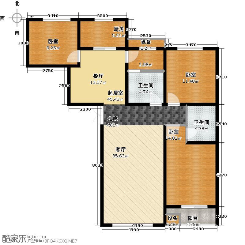 石家庄维多利亚时代138.36㎡户型3室2厅2卫