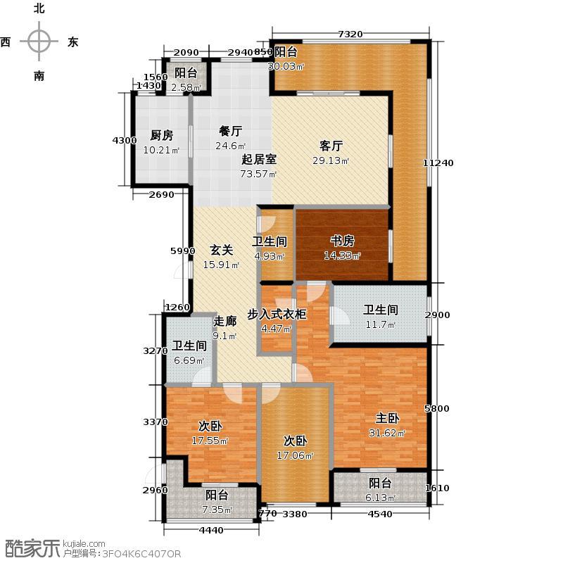彩虹豪庭264.00㎡A户型10室