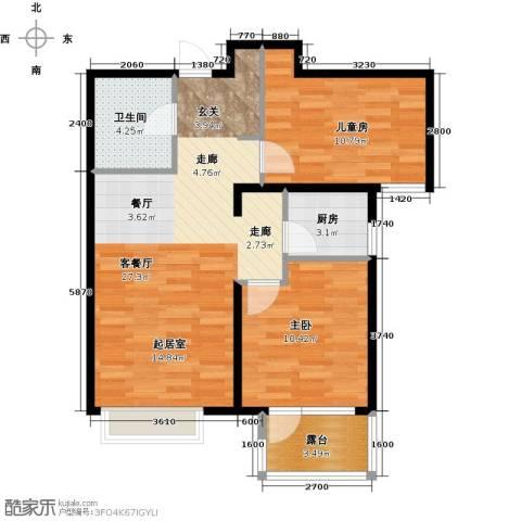 金隅・观澜时代2室2厅1卫0厨83.00㎡户型图