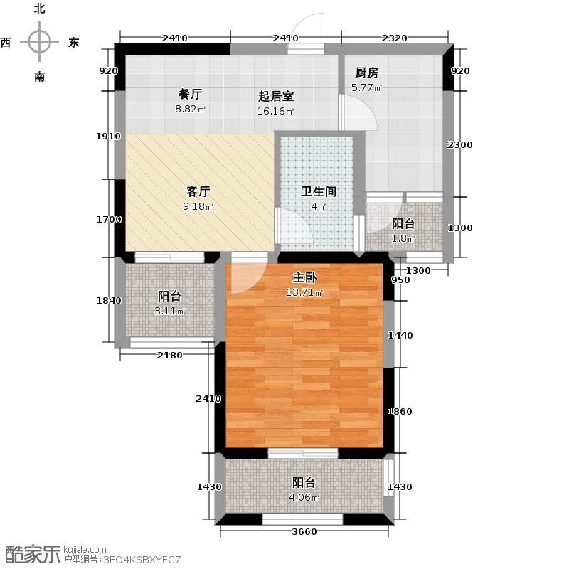 世茂西西湖57.00㎡2号楼1单元03室户型1室2厅1卫