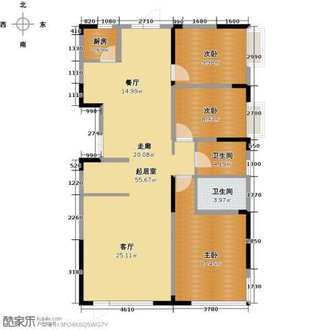 中交上东湾3室2厅2卫0厨147.00㎡户型图