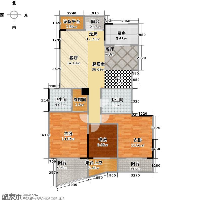 泊金湾120.00㎡3号楼中间套户型3室2厅2卫