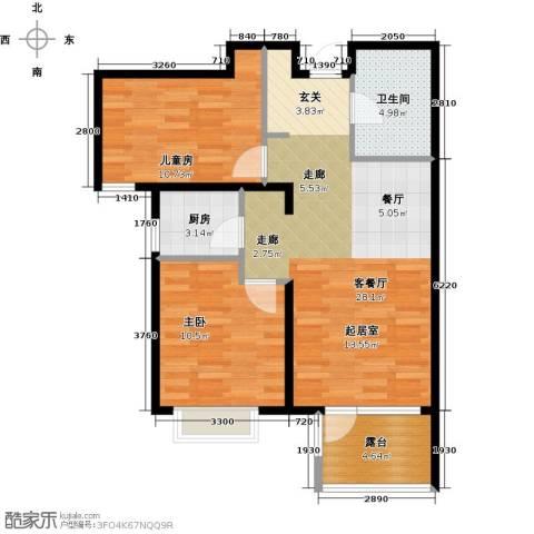 金隅・观澜时代2室2厅1卫0厨86.00㎡户型图