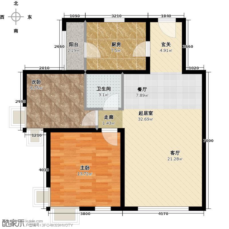 北京奥林匹克花园87.21㎡B1边1户型2室2厅1卫