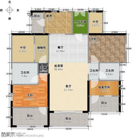 星河盛世2室0厅2卫1厨123.00㎡户型图