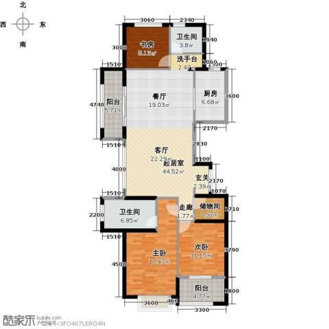 大家之江悦3室2厅2卫0厨137.00㎡户型图