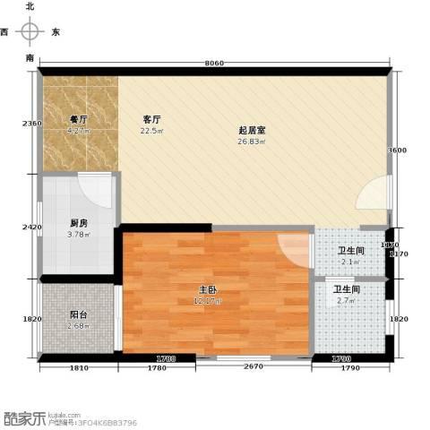 天伦御城龙脉1室2厅1卫0厨67.00㎡户型图
