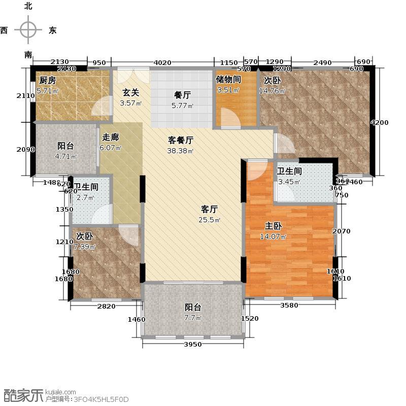 第六都126.73㎡9#B户型3室2厅2卫