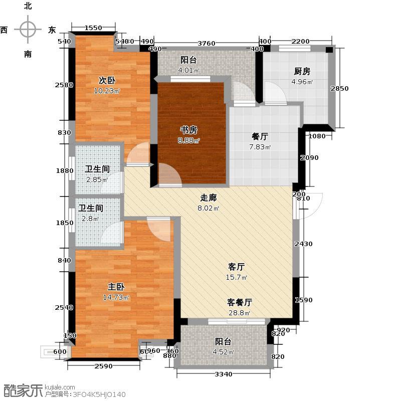 鼎盛华城114.17㎡B5户型3室2厅2卫