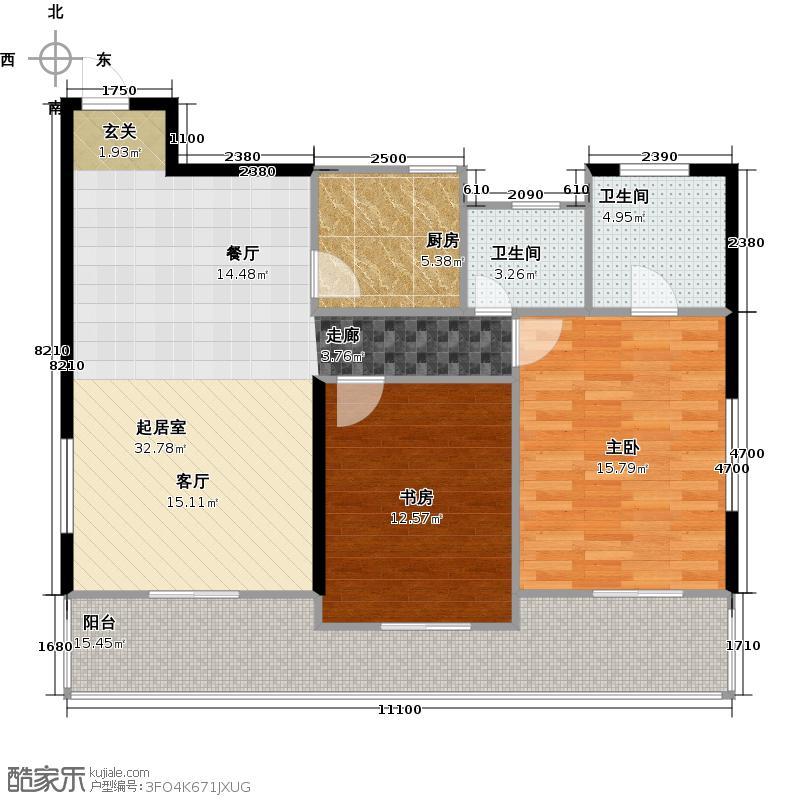 富源公馆105.00㎡东郡B可做成套二、套三户型2室2厅1卫
