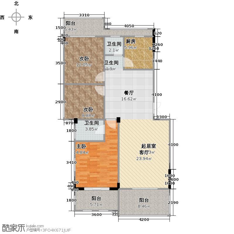 幸福考拉114.81㎡户型3室2厅2卫