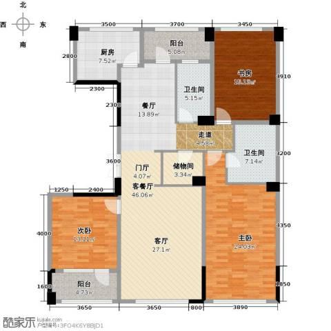 绿城玉兰花园3室2厅2卫0厨176.00㎡户型图