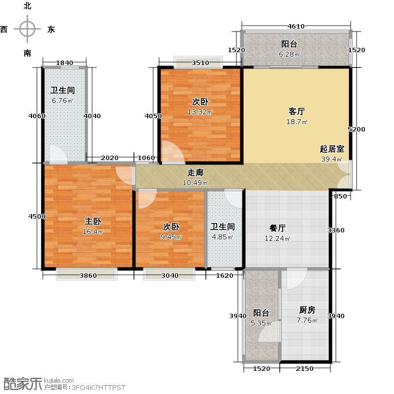 龙湾国际117.68㎡户型3室2厅2卫