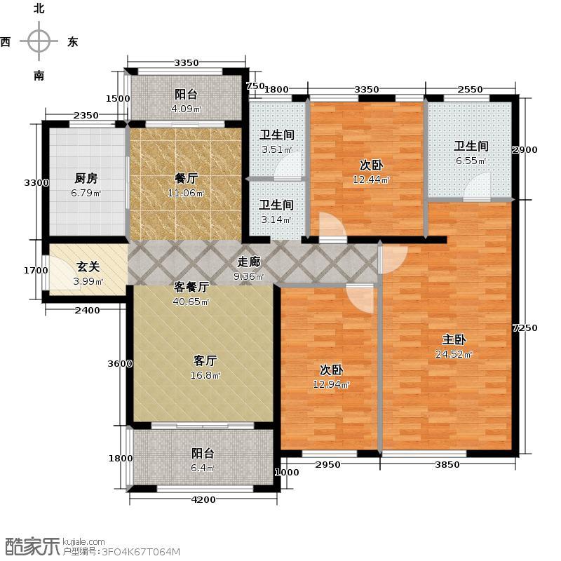 金地圣爱米伦147.00㎡高层B-1户型3室2厅2卫