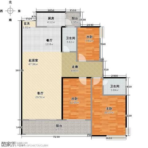 龙湾国际3室2厅2卫0厨144.00㎡户型图