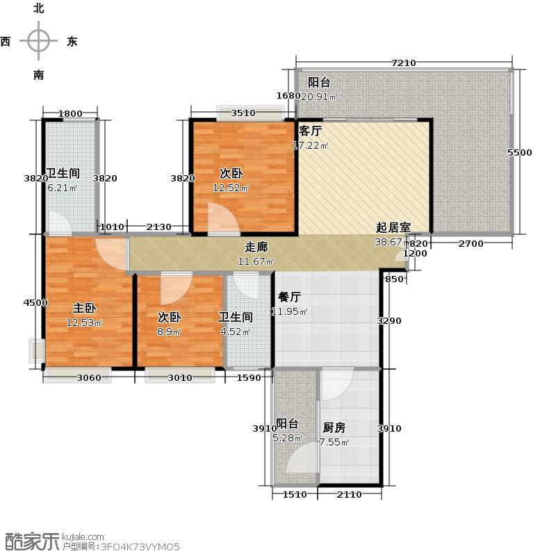 龙湾国际125.84㎡B1户型3室2厅2卫