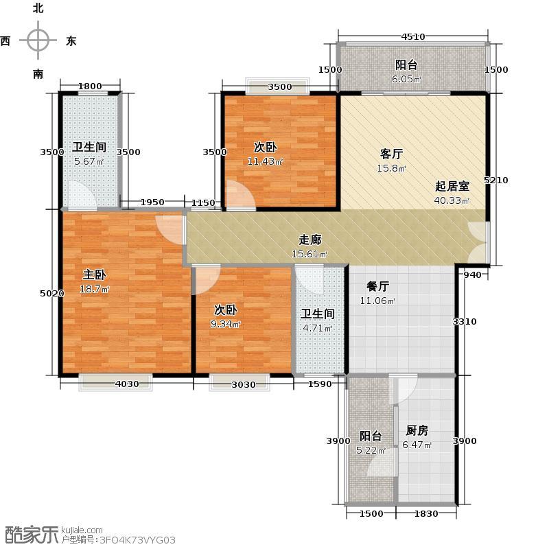 龙湾国际115.88㎡户型3室2厅2卫