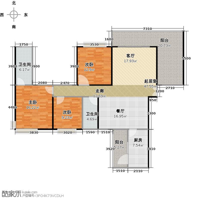 龙湾国际137.01㎡B1户型3室2厅2卫