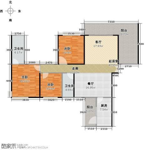 龙湾国际3室2厅2卫0厨171.00㎡户型图