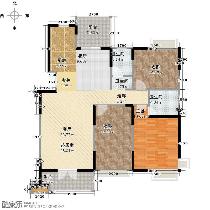 香邑国际143.39㎡11、18#标准层C1F户型3室2厅2卫