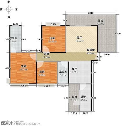 龙湾国际3室2厅2卫0厨162.00㎡户型图