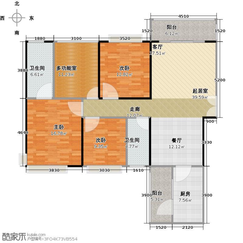 龙湾国际129.00㎡B1户型3室2厅2卫