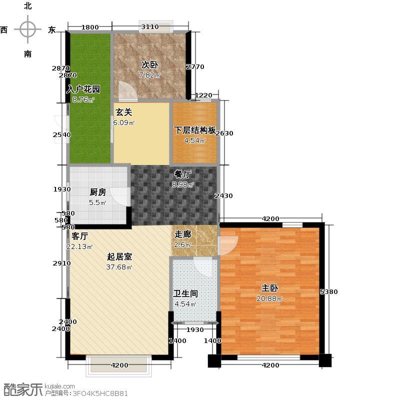 南湖半岛113.10㎡2号楼A4-2户型10室
