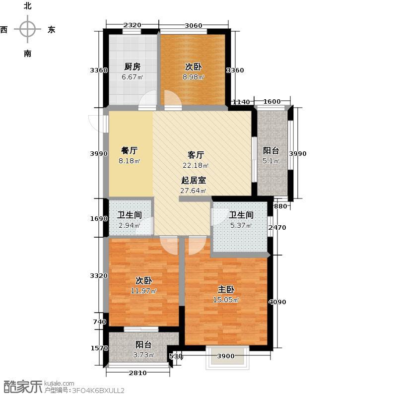 世茂西西湖100.00㎡优悦新贵2-6号楼A1户型3室2厅2卫