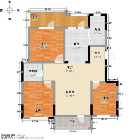 金地滟澜山3室2厅1卫0厨104.00㎡户型图