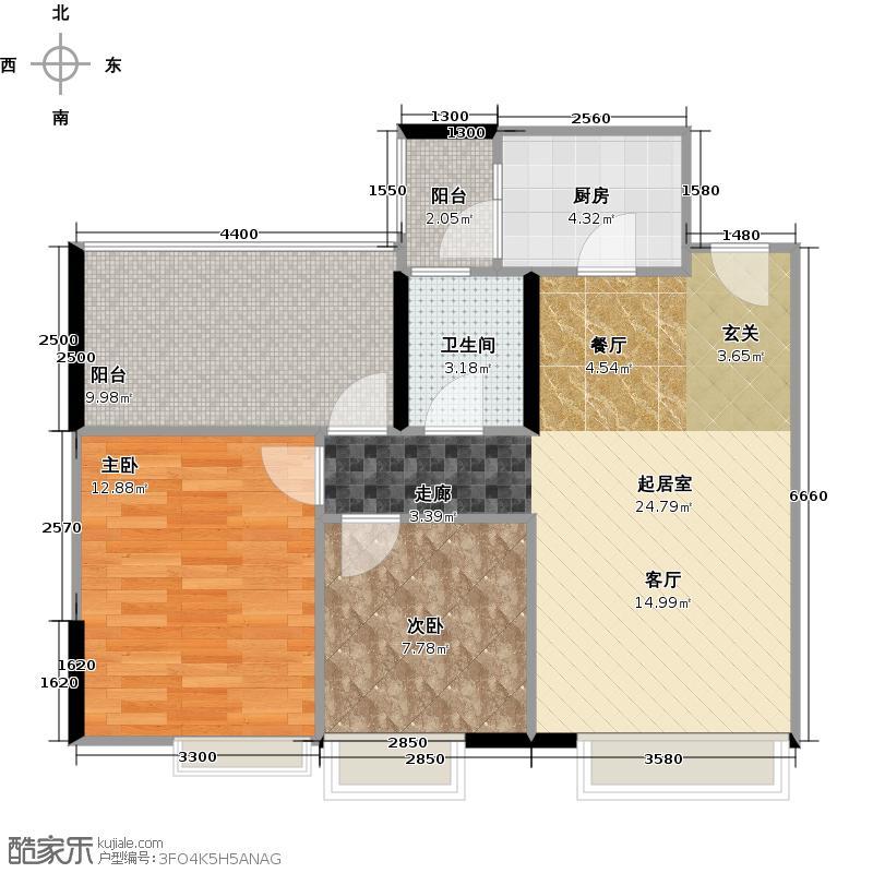 华宇楠苑78.20㎡14栋2-10层3-2号2010年11月在售户型2室1卫1厨