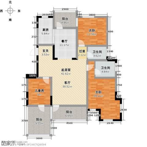 金地滟澜山3室2厅2卫0厨123.00㎡户型图